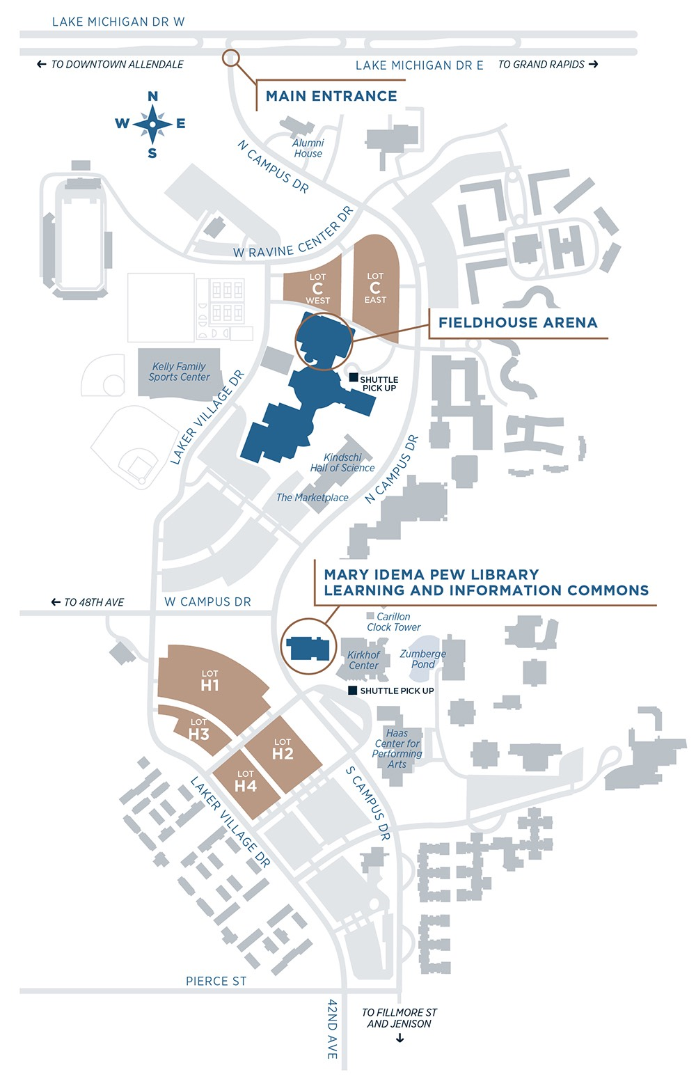 grand valley state university campus map Map And Parking Inauguration Grand Valley State University grand valley state university campus map